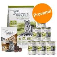 Set prova misto! Wolf of Wilderness Senior secco + umido + snack