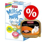 Set Prova misto! 32 x 100 g Animonda vom Feinsten Adult + 20 x 15 g Milkies