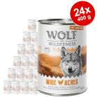 """Set Risparmio! Wolf of Wilderness """"Carne allevata all'aperto"""" 24 x 400 g"""