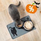 Set Sottociotola in silicone Cosma + 2 Ciotole in ceramica Trixie con gatto