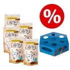 Set 5 x 65 g Catessy Snack Croccanti + Gioco gatti Trixie Turning Feather