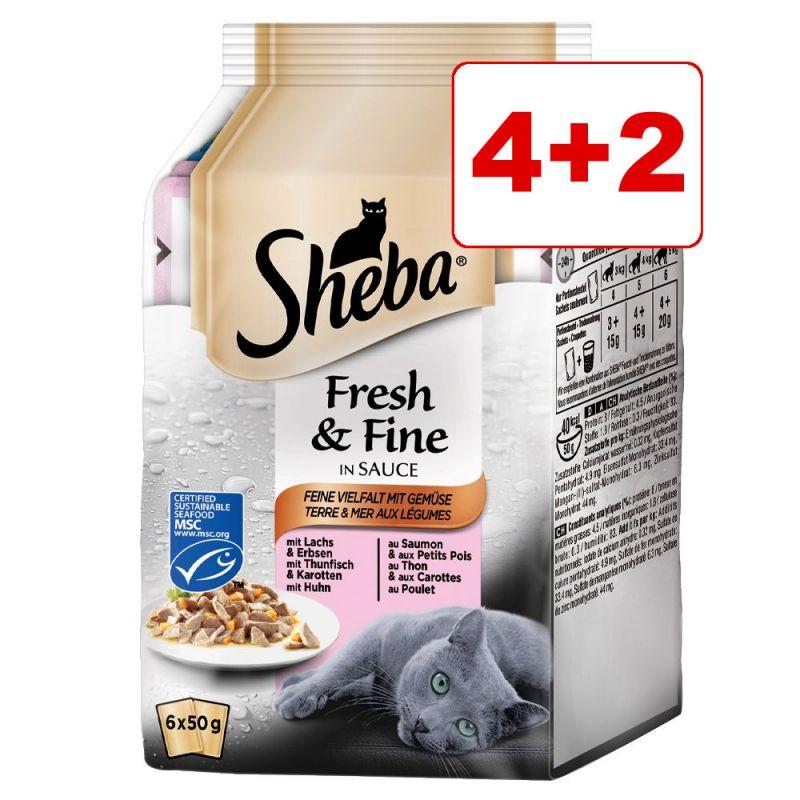 Sheba Fresh & Fine kissanruoka 6 x 50 g: 4 + 2 kaupan päälle!