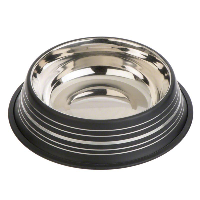 Silver Line mattsvart kattskål i rostfritt stål