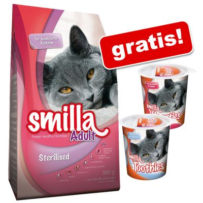 Smilla Adult Sterilised, 10 kg + Smilla Hearties & Smilla Toothies, 2 x 125 g gratis!