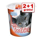 Smilla Toothies ou Hearties snacks de higiene oral 3 x 125g em promoção: 2 + 1 grátis!
