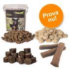 4 sorters strutsgodis för hundar i billigt blandat provpack!