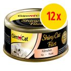 Sparpack: GimCat ShinyCat Filet 12 x 70 g i burk