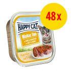Sparpaket Happy Cat Minkas Duo Häppchen auf Paté Schälchen 48 x 100 g