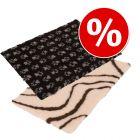 Sparpaket: Vetbed® Isobed SL Hundedecke Wave, creme/braun + Vetbed® Isobed SL Hundedecke Paw, schwar