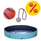 Sparset! Chuckit! Ultra Ball + Trixie Gummiball mit Schnur + Hundepool Keep Cool