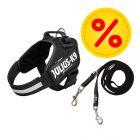 Sparset JULIUS-K9 IDC®-Powergeschirr - schwarz + Doppel-Führleine gummiert