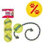 Sparset! KONG: 3er Pack Tennisbälle mit Quietschie + SqueakAir Ball mit Seil