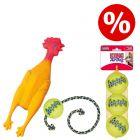 Sparset! KONG Tennisbälle mit Quietschie + SqueakAir Ball mit Seil + Spiel-Huhn mit Squeaker