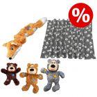 Sparset! KONG WildKnots Bears + KONG Scrunch Knots Fuchs + Fleecedecke Pawty