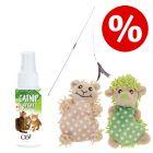 Sparset! Moppi mit Katzenminze, 2 Stück + Katzenangel Bird + 60 ml Catit Senses 2.0 Catnip Spray