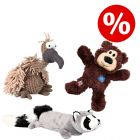 Sparset! Trixie Geier Gustav + KONG WildKnots Bears + Trixie Plüsch-Waschbär mit Power-Quietschie