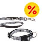 Sparset Trixie Hundeleine  + Halsband Pfoten Silver Reflect