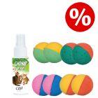 Sparset! Trixie Softbälle, 8 Stück + 60 ml Catit Senses 2.0 Catnip Spray