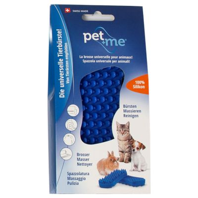 Spazzola pet+me in silicone blu