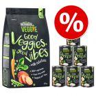 Säästöhintaan: 1,5 kg Greenwoods Veggie -kuivaruokaa + 6 x 400 g märkäruokaa