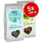 Säästöpakkaus: zoolove soft snacks -koiranherkut 5 x 100 g (puolikostea)