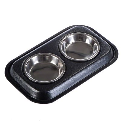Stainless Steel Dual Bowl - Silver