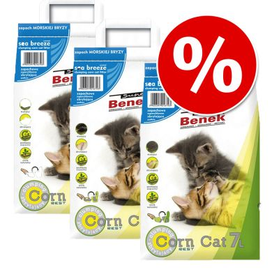 Super Benek Corn Cat  Clumping Litter Economy Packs 3 x 7 Litres