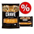 20% taniej! Crave Adult karma sucha dla kota + Pakiet próbny Crave, saszetki, 4 x 85 g