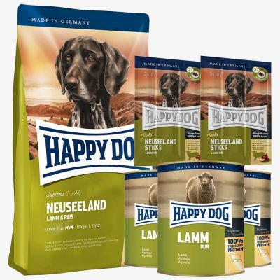 Testpaket Happy Dog Neuseeland Trocken- & Nassfutter & Snack