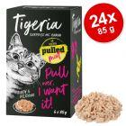 Tigeria Pulled Meat 24 x 85 g comida húmeda para gatos - Pack Ahorro