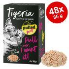 Tigeria Pulled Meat 48 x 85 g comida húmeda para gatos - Pack Ahorro