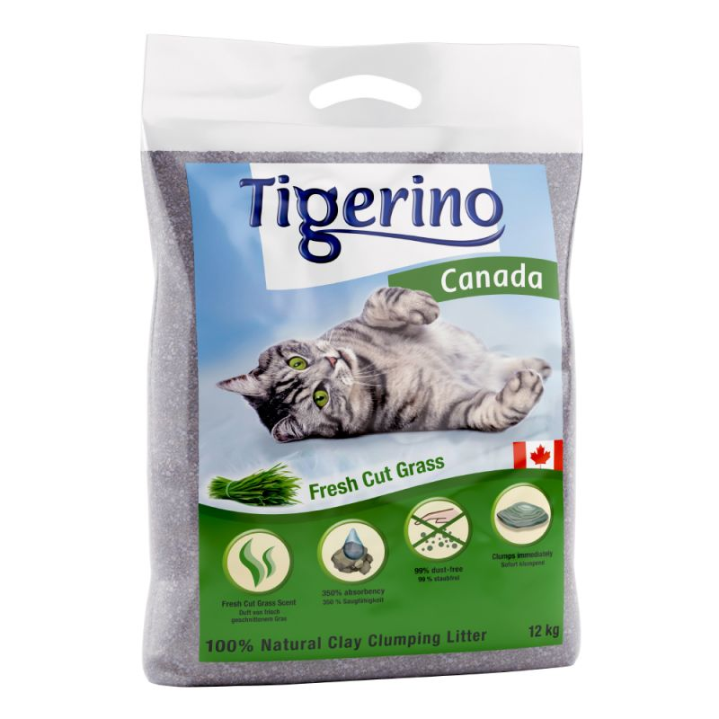 Tigerino Canada -kissanhiekka, vastaleikattu ruoho