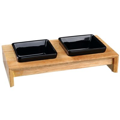 Trixie Ceramic & Wood Feeding Bowl Set