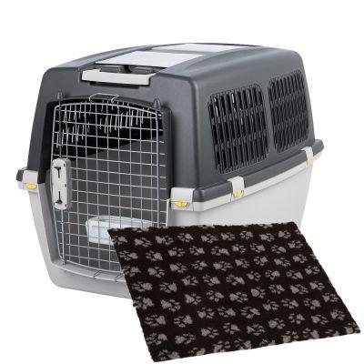 Trixie Gulliver -kuljetuslaatikko & Vetbed Isobed SL Paw -koiranpeitto