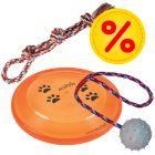 Trixie Hundespielzeug-Set: Spieltau, Frisbee, Gummiball