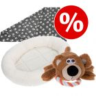 Welcome Kit Puppy & Junior Letto Fluffy 2in1 + Coperta in pile + Orsetto