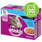 Whiskas 1+ Adult Pouches -säästöpakkaus 96 x 85 g / 100 g
