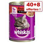 Whiskas Adult 1+ 40 x 400 g + 8 boîtes offertes !