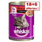 Whiskas Adult 1+ 18 x 400 g + 6 boîtes offertes !