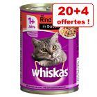 Whiskas Adult 1+ 20 x 400 g + 4 boîtes offertes !