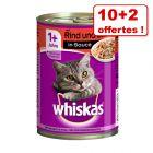 Whiskas Adult 1+ : 10 x 400 g + 2 boîtes offertes !