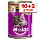 Whiskas 1+ años 12 x 400 g latas en oferta: 10 + 2 ¡gratis!