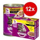 Whiskas blandet pakke: 12 x 400 g dåser + 12 x 100 g portionsposer