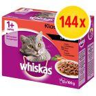 Whiskas 1+ Classic Selectie Maaltijdzakjes Kattenvoer Megapack 144  x 100 g