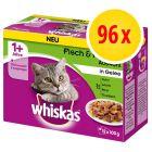 Whiskas 1+ Classic Selectie Maaltijdzakjes Kattenvoer Voordeelpakket 96  x 100 g