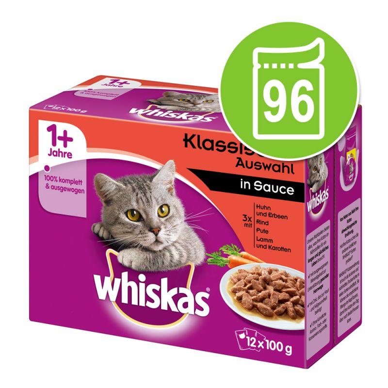 Whiskas 1+ Classic Selectie Maaltijdzakjes Kattenvoer Voordeelpakket 96  x 85 / 100 g