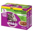 Whiskas 1+ Classic Selectie Maaltijdzakjes Kattenvoer 12 x 100 g