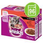 Whiskas Junior Classic Selectie in Saus / Gelei Maaltijdzakjes Voordeelpakket 96 x 85 g / 100 g
