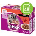 Whiskas Junior Classic Selectie in Saus / Gelei Maaltijdzakjes Voordeelpakket 48 x 85 g / 100 g
