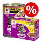 Whiskas Kattenvoer Gemengd Pakket: 12 x 400 g Blikken + 12 x 100 g Maaltijdzakjes